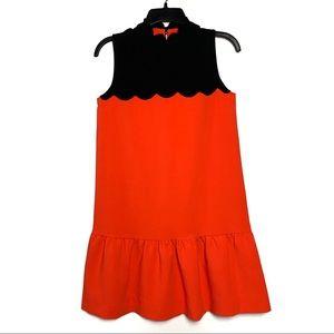 Ted Baker Orange/Black Sleeveless Dress Sz 0. A-30